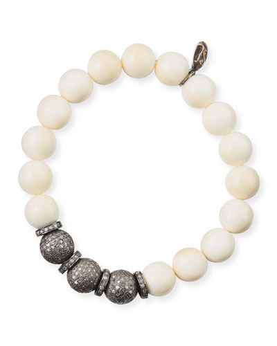 10mm Bone Bead & Pave Diamond Bracelet