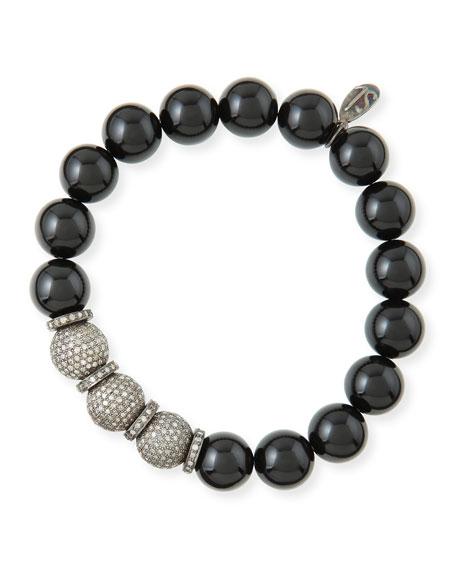 Sheryl Lowe 10mm Onyx & Pave Diamond Bracelet