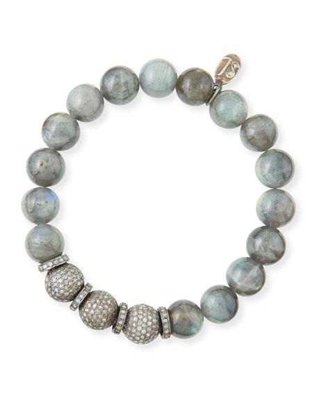10mm Labradorite & Pave Diamond Bracelet
