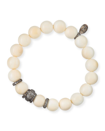 10mm Bone Bead & Pave Diamond Rondelle Bracelet