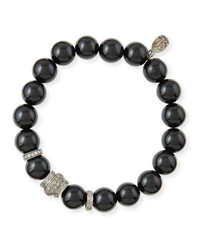 10mm Onyx & Pave Diamond Rondelle Bracelet