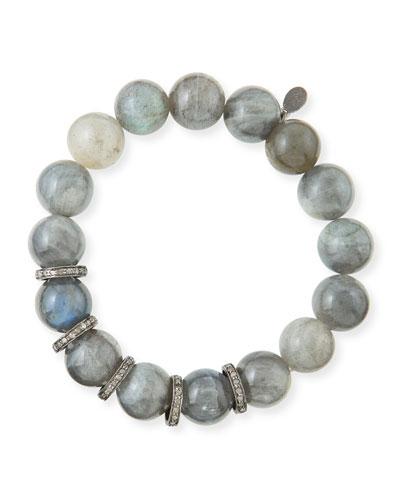 12mm Labradorite & Diamond Rondelle Bracelet