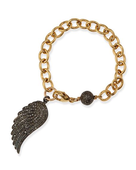 Sheryl Lowe Link Bracelet with Pave Diamond Wing