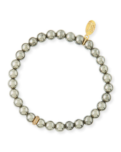 6mm Pyrite & Pave Diamond Bead Bracelet