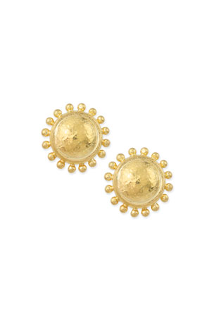 Elizabeth Locke Granulated Dome Stud Earrings