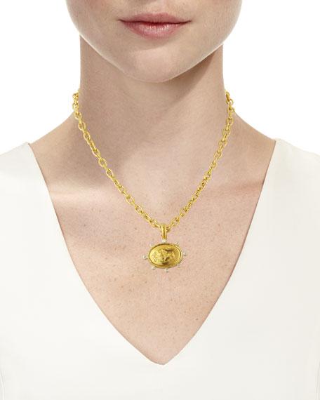19k Gold Eros & Lion Pendant with Diamonds