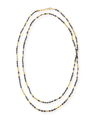 Dark Mist Black Diamond & 24k Gold Necklace, 40