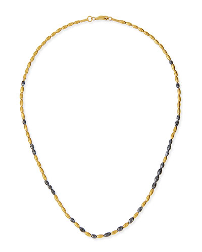 "Dark Mist 24k Gold & Black Diamond Necklace, 16""L"