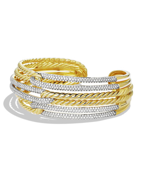 David Yurman Labyrinth Triple-Loop Cuff with Diamonds in