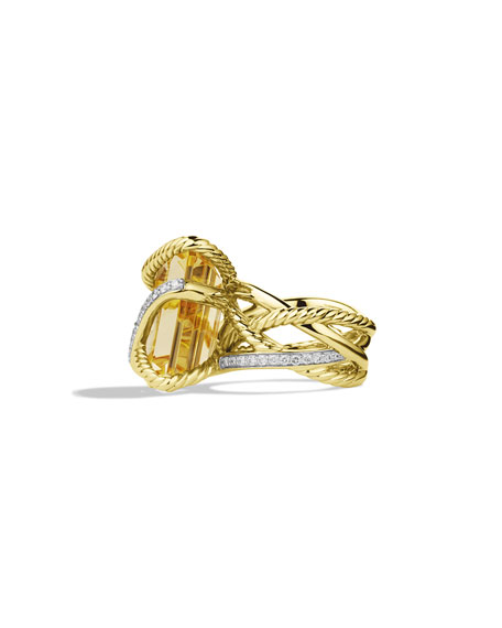 Cable Wrap Ring with Citrine and Diamonds in Gold