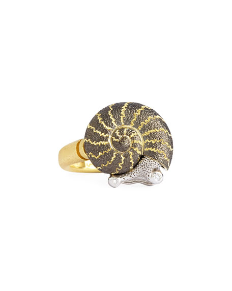 18k Snail Ring with Diamonds