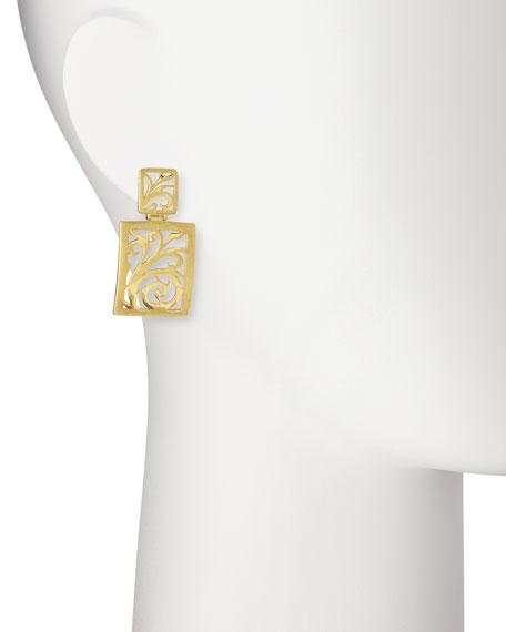 18k Gold Open-Scroll Drop Earrings