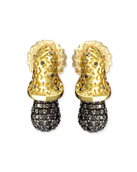 Acorn 18k Gold & Black Diamond Earrings