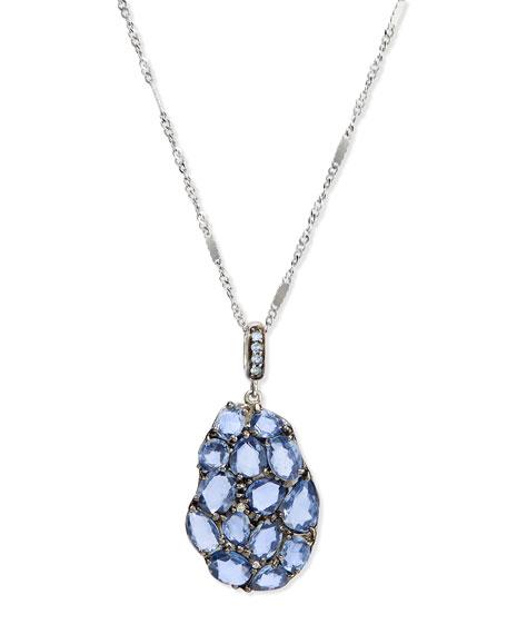 Rina Limor Blue Sapphire & Diamond Wavy Pendant