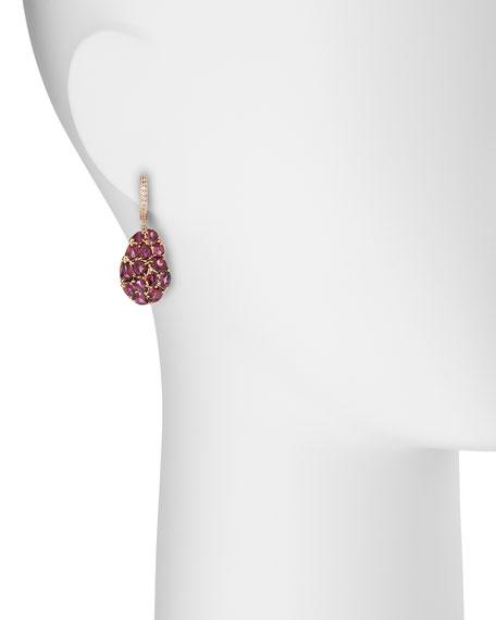 Wavy Rhodolite Drop Earrings
