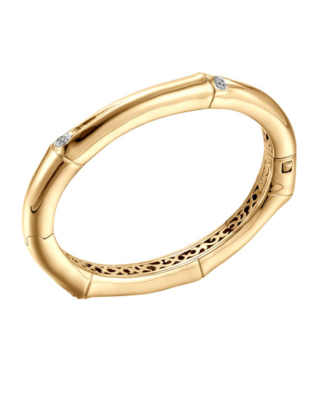 Bamboo 18k Gold & Diamond Hinge Bangle
