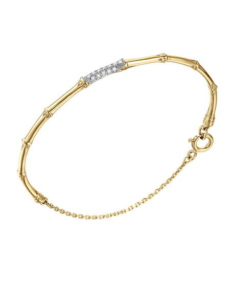 John Hardy Bamboo 18k Slim Diamond Bracelet, Medium