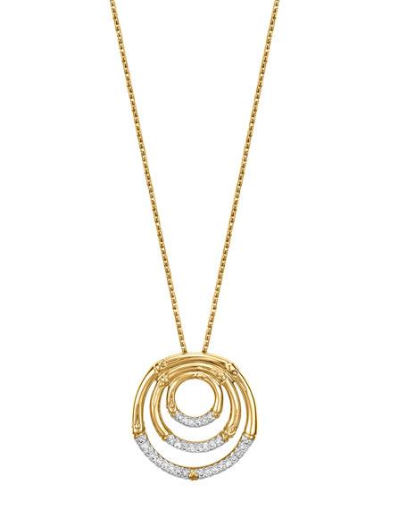 John Hardy Bamboo 18k Gold Amp Diamond Pendant Necklace