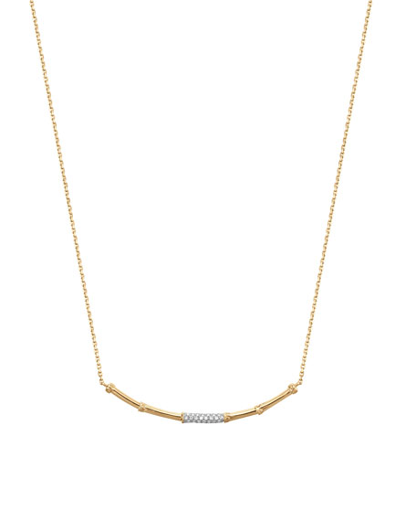 Slim Bamboo 18k Gold & Diamond Necklace
