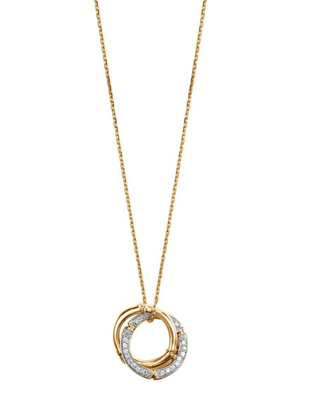 Bamboo 18k Gold & Diamond Link-Pendant Necklace