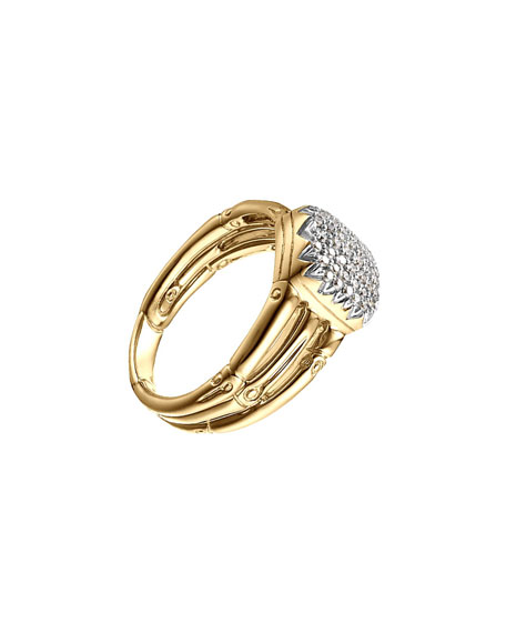 John Hardy Bamboo 18k Diamond Three-Row Ring, Size