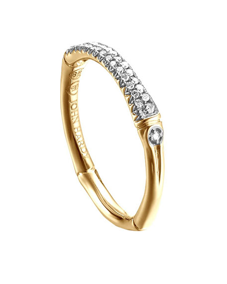 John Hardy Bamboo 18k Diamond Band Ring, Size