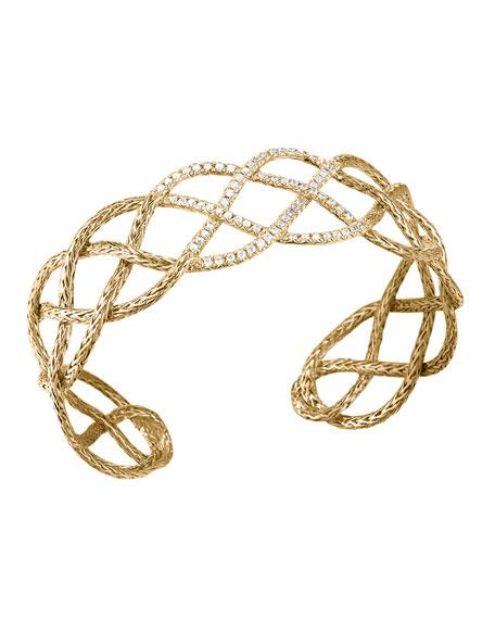 Classic Chain 18k Gold & Diamond Braided Cuff