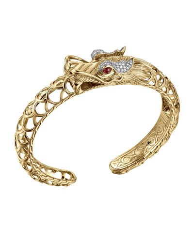Batu Naga 18k Diamond & Ruby Dragon Cuff