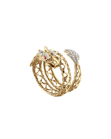 Naga 18k Dragon Coil Ring, Size 6