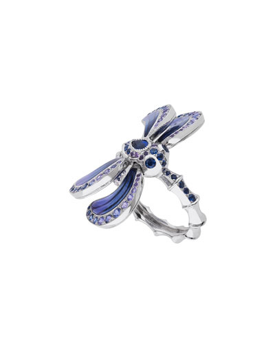 White Gold Dragonfly Ring with Sapphire & Amethyst