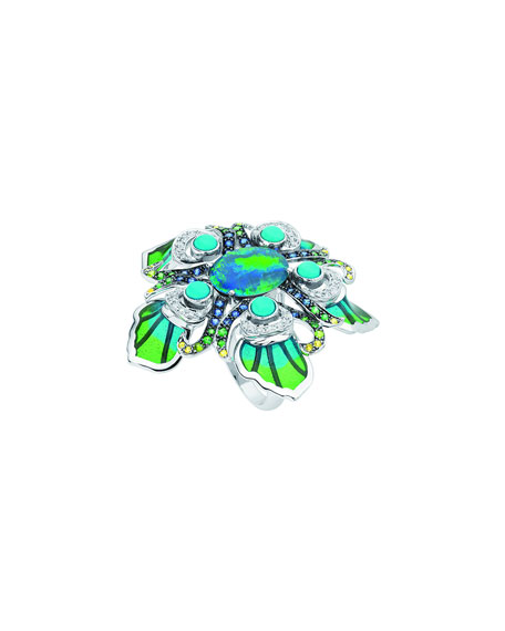 White Gold Peacock Opal Ring