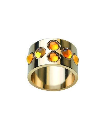 Petillante 18k Gold Amber Wide Ring