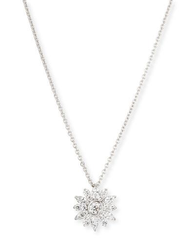 "Diamond Cluster Pendant Necklace, 18""L"