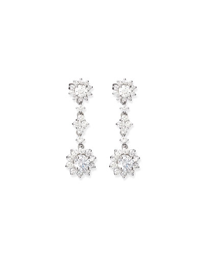 Diamond Flower Cluster Drop Earrings