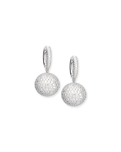 Pave Diamond Sphere Drop Earrings