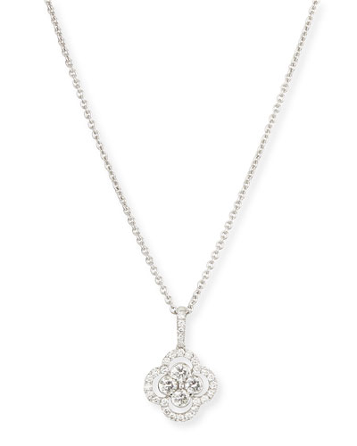 Diamond Clover Pendant Necklace, 18
