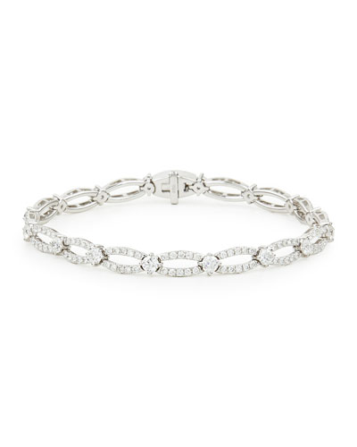18k White Gold Diamond Oval-Link Bracelet