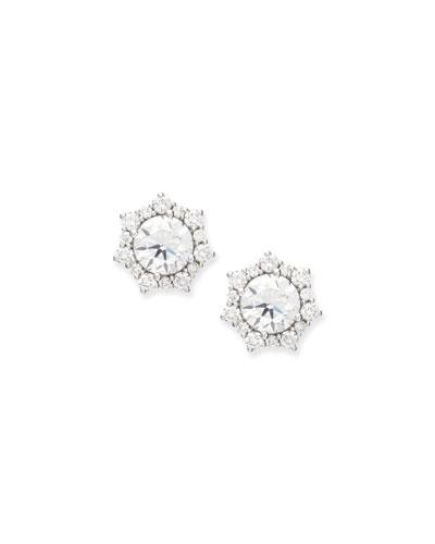 Sunshine Halo Diamond Stud Earrings