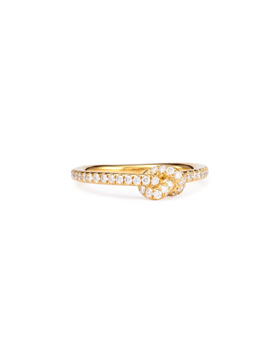 Stackable Diamond Knot Ring, 18k Yellow Gold