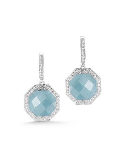 Patras Octagonal Aquamarine Diamond Earrings