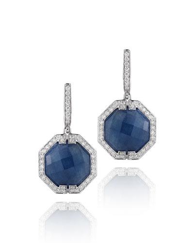 Patras Octagonal Sapphire Diamond Earrings