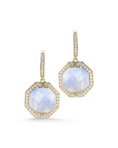 Patras Octagonal Moonstone Diamond Earrings