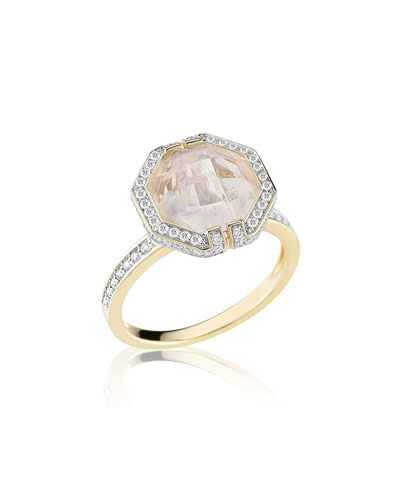 Patras Octagonal Moonstone & Diamond Ring