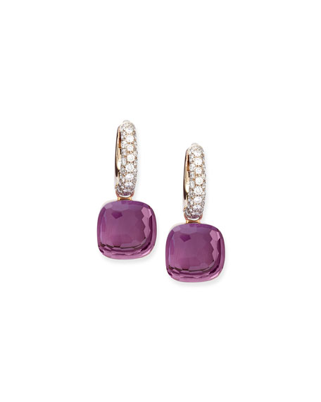 Nudo Amethyst Diamond Drop Earrings