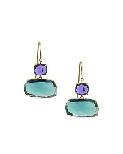 Murano Amethyst & London Blue Topaz Earrings