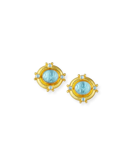 Quadriga Intaglio Clip/Post Earrings, Light Aqua