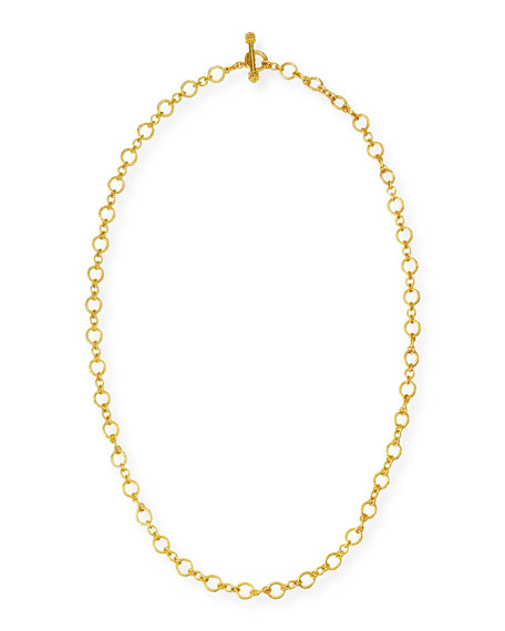 "Riviera 19k Gold Link Necklace, 31""L"