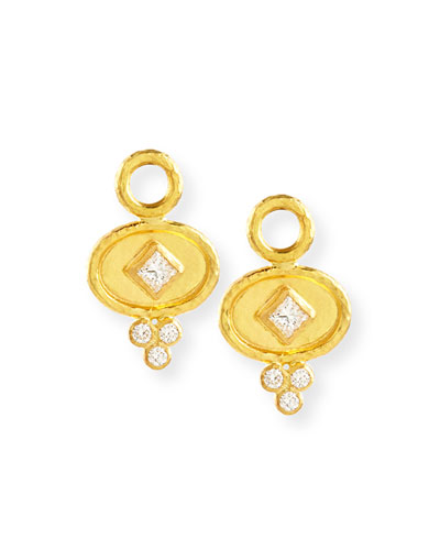 19k Gold Oval Diamond Earring Pendants