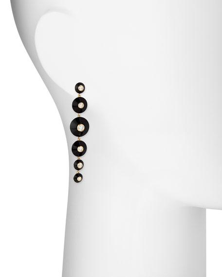 18k Pyramide Onyx & Diamond Drop Earrings