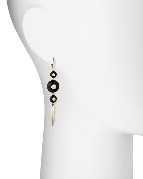 18k Pyramide Pointed Onyx Drop Earrings